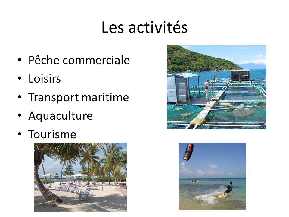 Les activités Pêche commerciale Loisirs Transport maritime Aquaculture