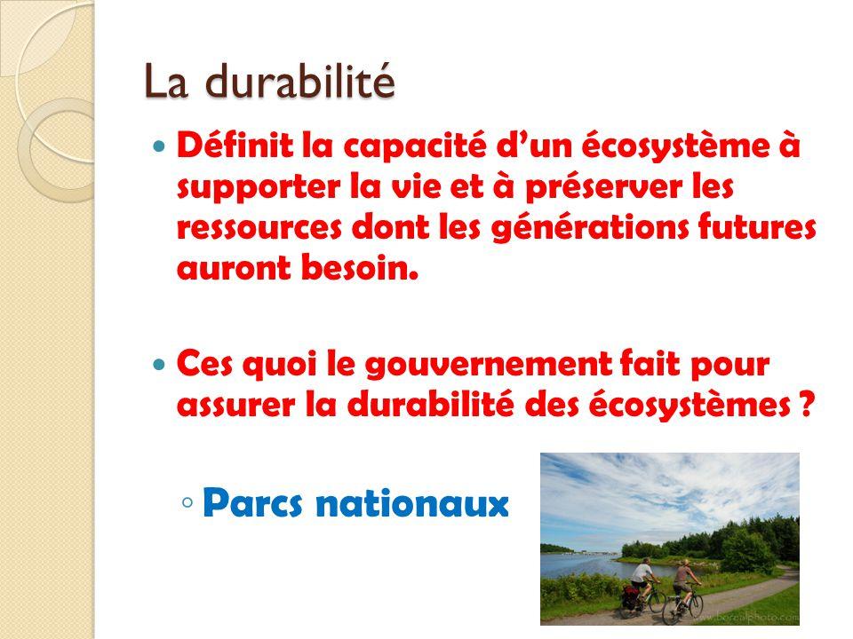 La durabilité Parcs nationaux