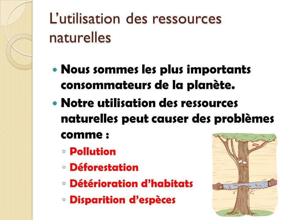 L'utilisation des ressources naturelles