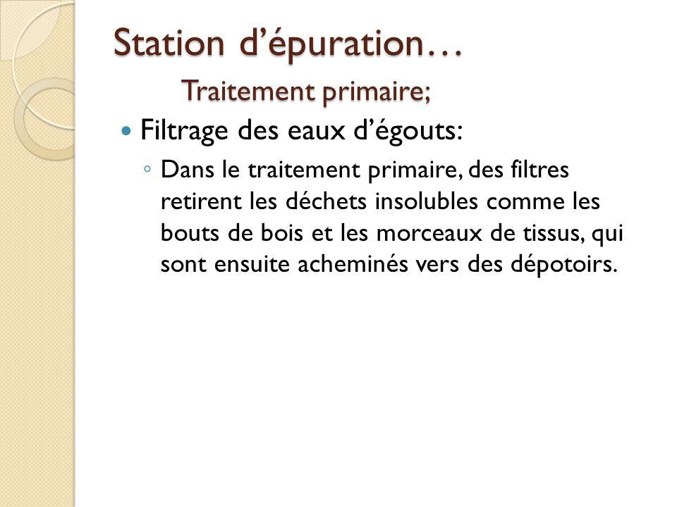 Station d'épuration… Traitement primaire;