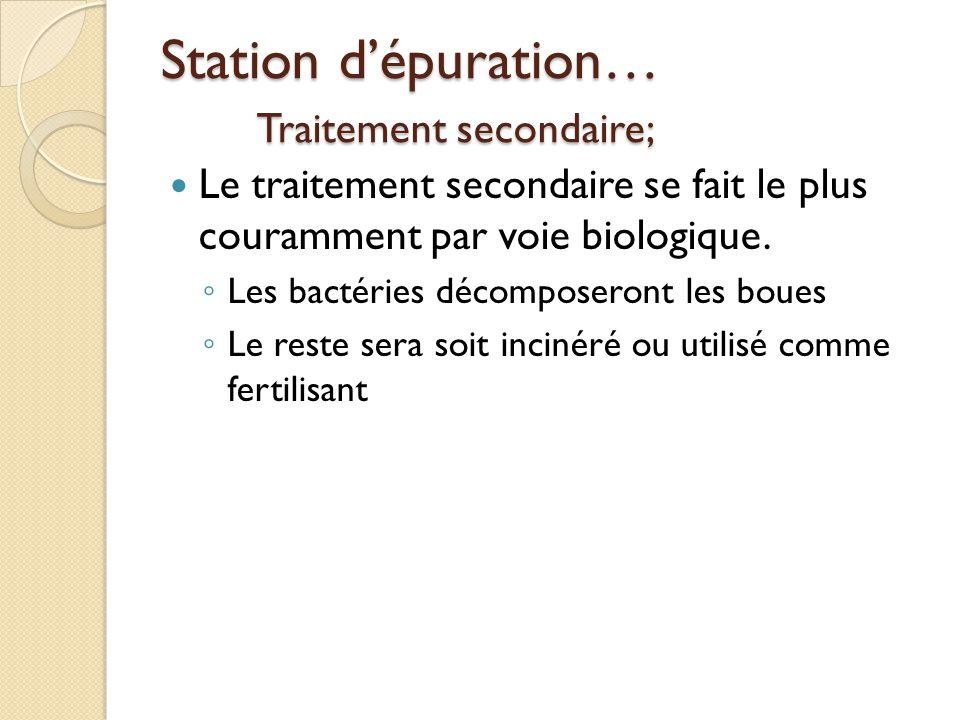 Station d'épuration… Traitement secondaire;