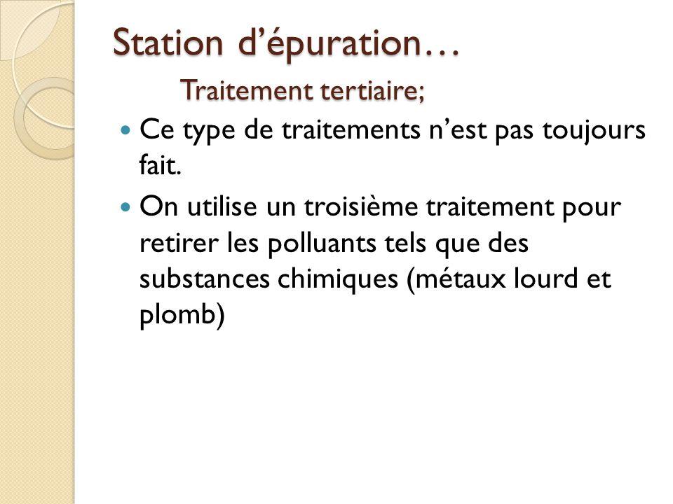 Station d'épuration… Traitement tertiaire;