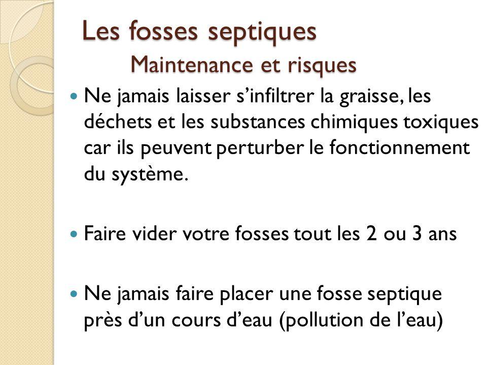 Les fosses septiques Maintenance et risques