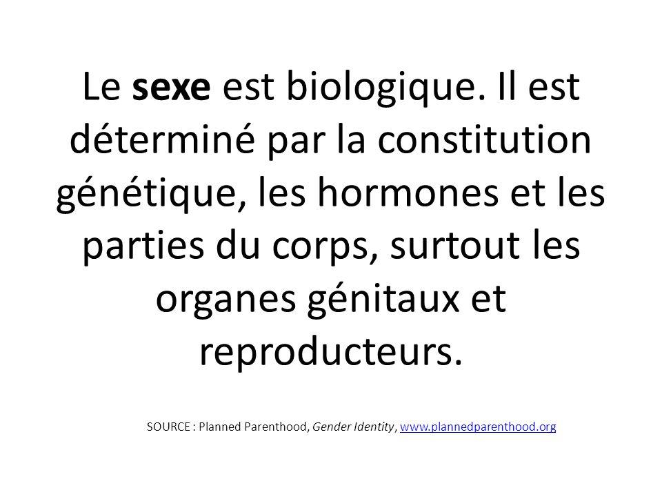 Le sexe est biologique. Il est déterminé par la constitution génétique, les hormones et les parties du corps, surtout les organes génitaux et reproducteurs.