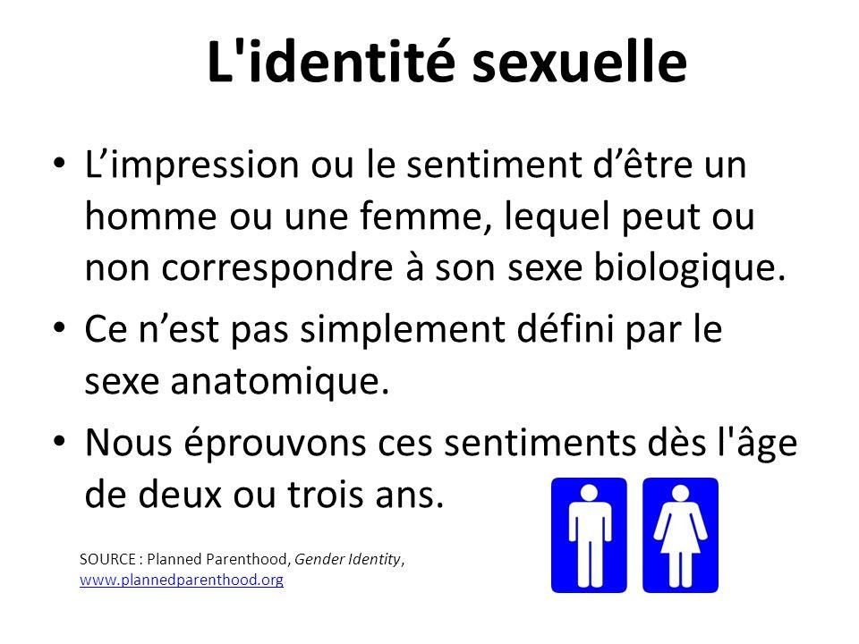 L identité sexuelle L'impression ou le sentiment d'être un homme ou une femme, lequel peut ou non correspondre à son sexe biologique.