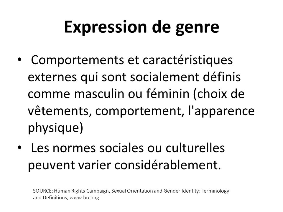 Expression de genre