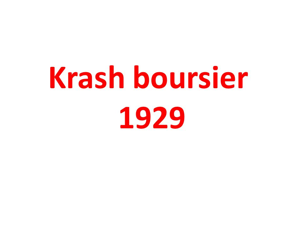 Krash boursier 1929
