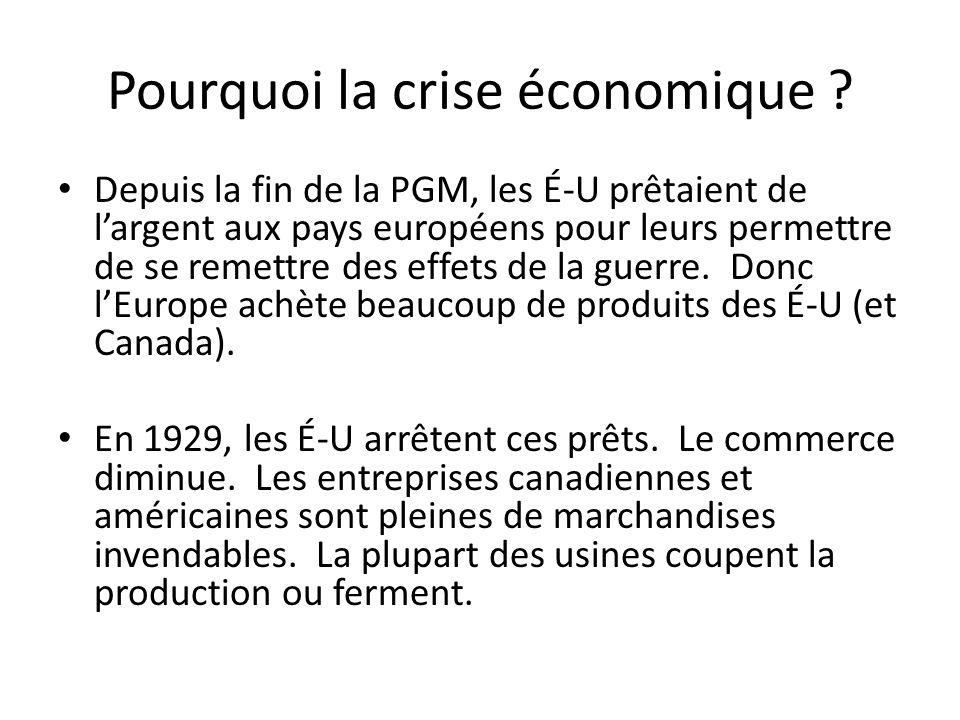 Pourquoi la crise économique
