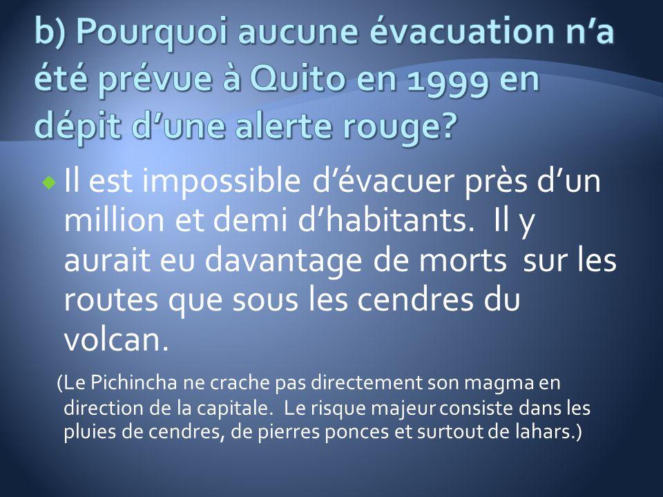 b) Pourquoi aucune évacuation n'a été prévue à Quito en 1999 en dépit d'une alerte rouge