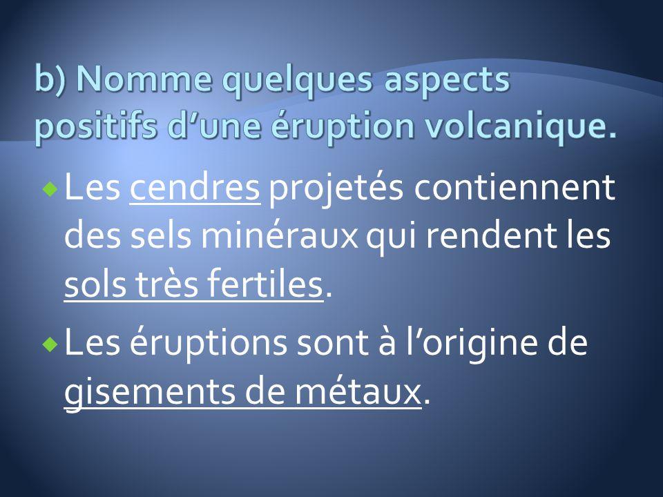 b) Nomme quelques aspects positifs d'une éruption volcanique.
