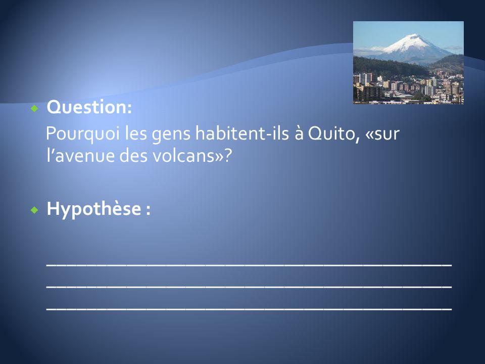 Question: Pourquoi les gens habitent-ils à Quito, «sur l'avenue des volcans» Hypothèse :