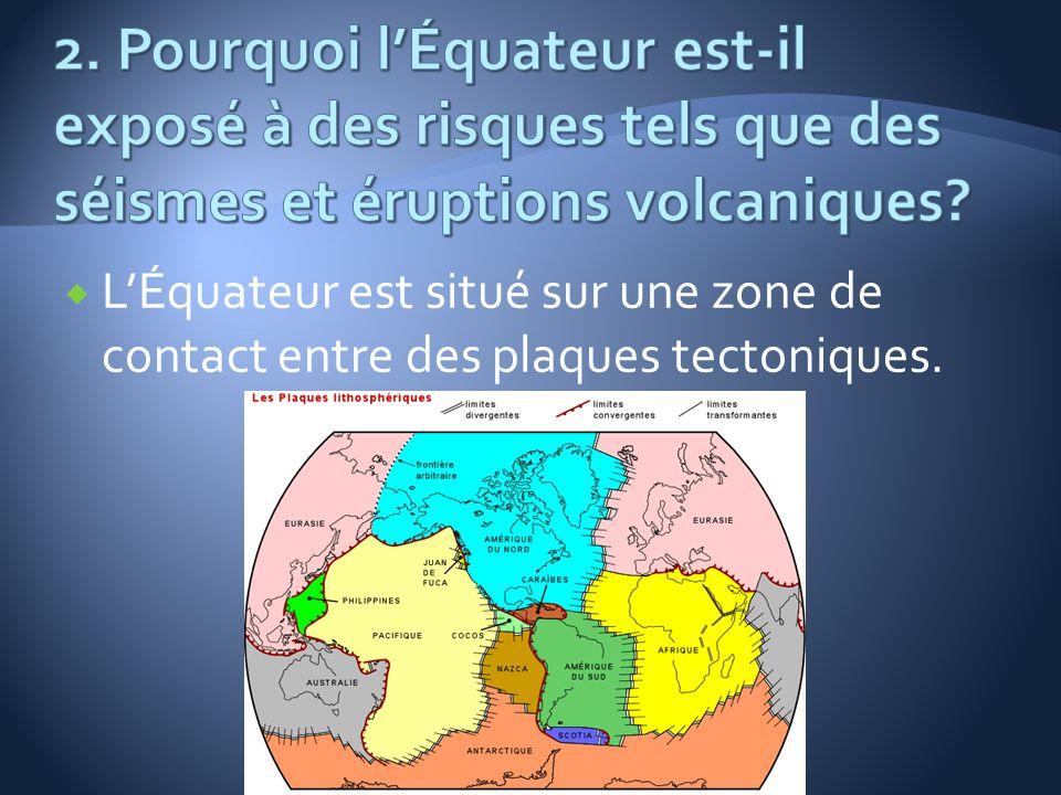 2. Pourquoi l'Équateur est-il exposé à des risques tels que des séismes et éruptions volcaniques