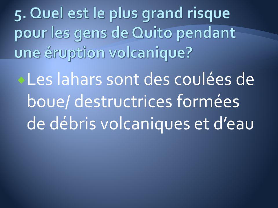 5. Quel est le plus grand risque pour les gens de Quito pendant une éruption volcanique
