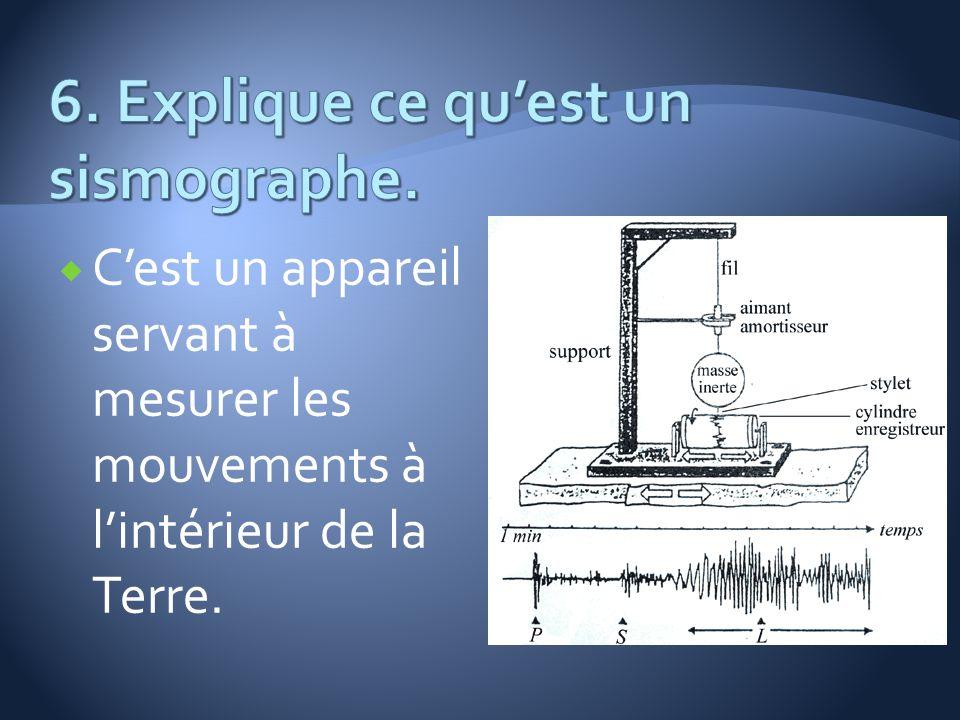 6. Explique ce qu'est un sismographe.