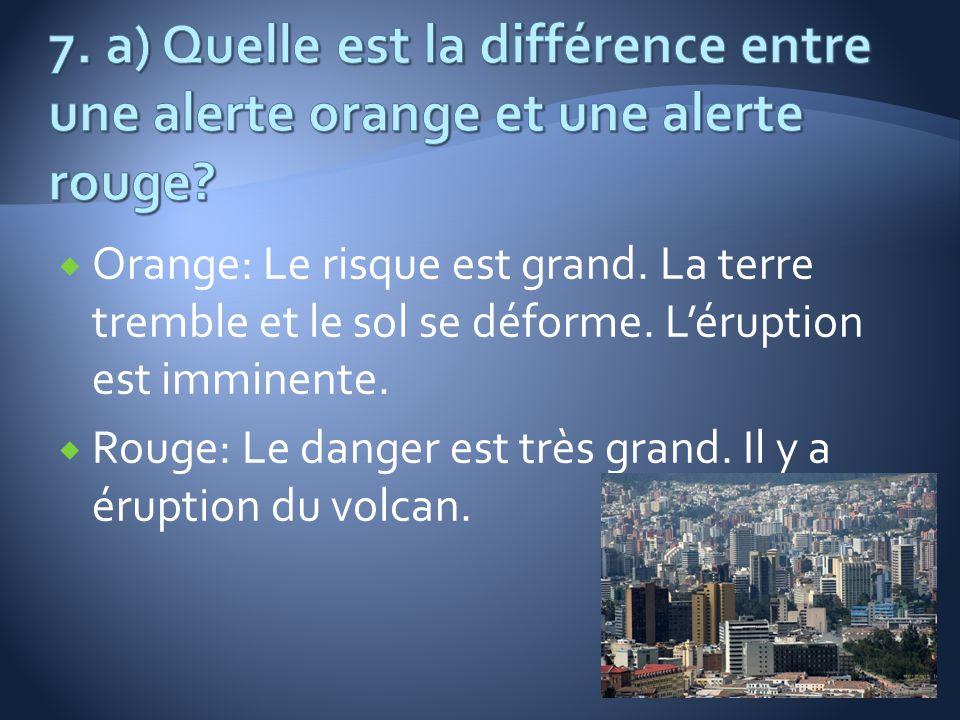 7. a) Quelle est la différence entre une alerte orange et une alerte rouge