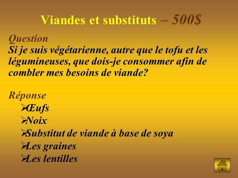 Viandes et substituts – 500$