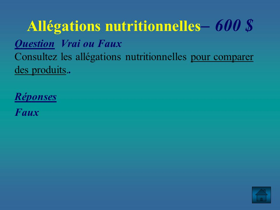Allégations nutritionnelles– 600 $