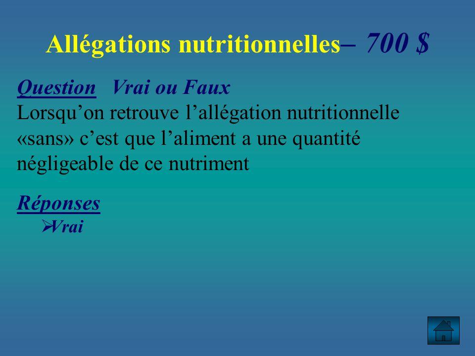 Allégations nutritionnelles– 700 $