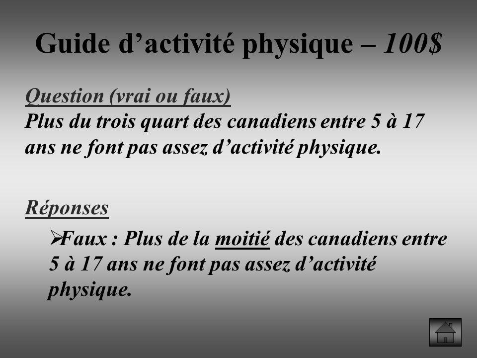 Guide d'activité physique – 100$