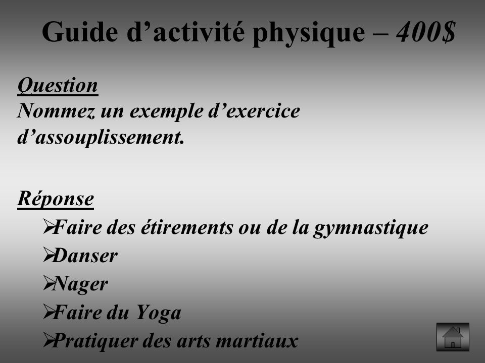 Guide d'activité physique – 400$
