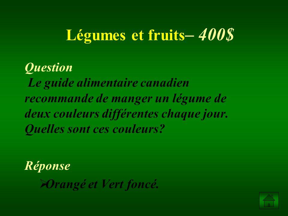 Légumes et fruits– 400$