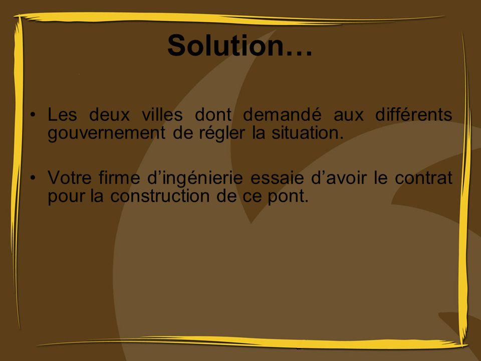 Solution… Les deux villes dont demandé aux différents gouvernement de régler la situation.
