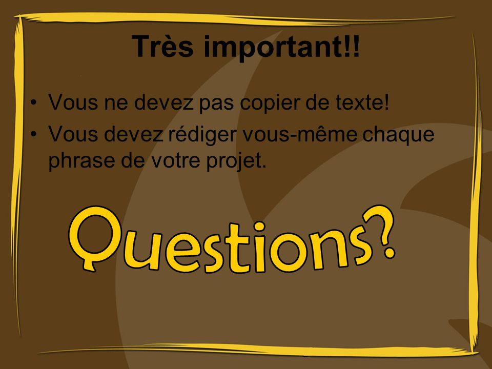 Questions Très important!! Vous ne devez pas copier de texte!