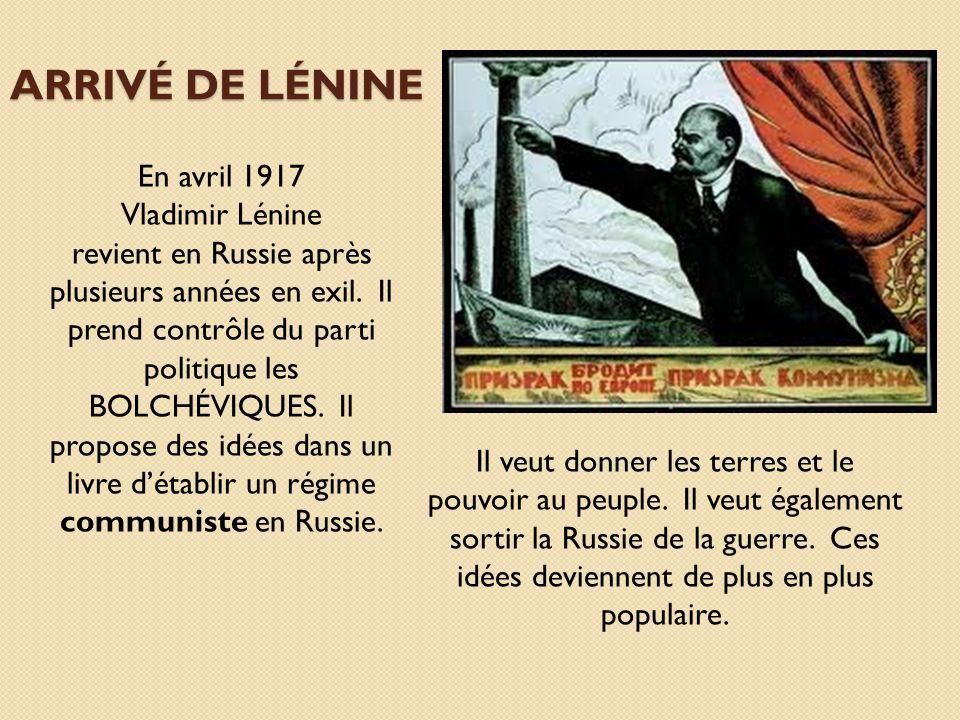 Arrivé de Lénine En avril 1917 Vladimir Lénine