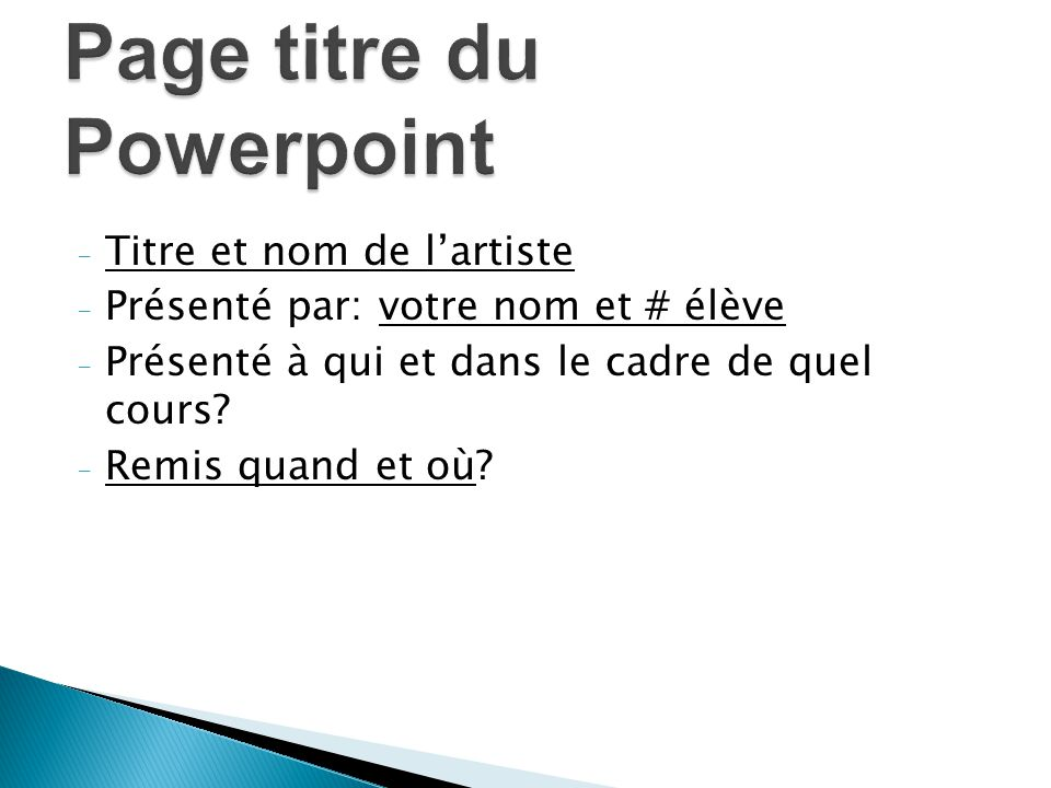 Page titre du Powerpoint