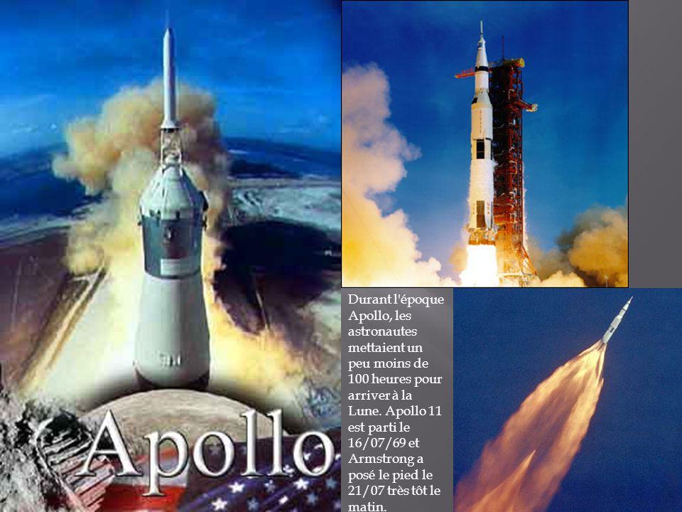 Durant l époque Apollo, les astronautes mettaient un peu moins de 100 heures pour arriver à la Lune.