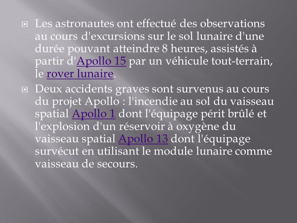 Les astronautes ont effectué des observations au cours d excursions sur le sol lunaire d une durée pouvant atteindre 8 heures, assistés à partir d Apollo 15 par un véhicule tout-terrain, le rover lunaire.