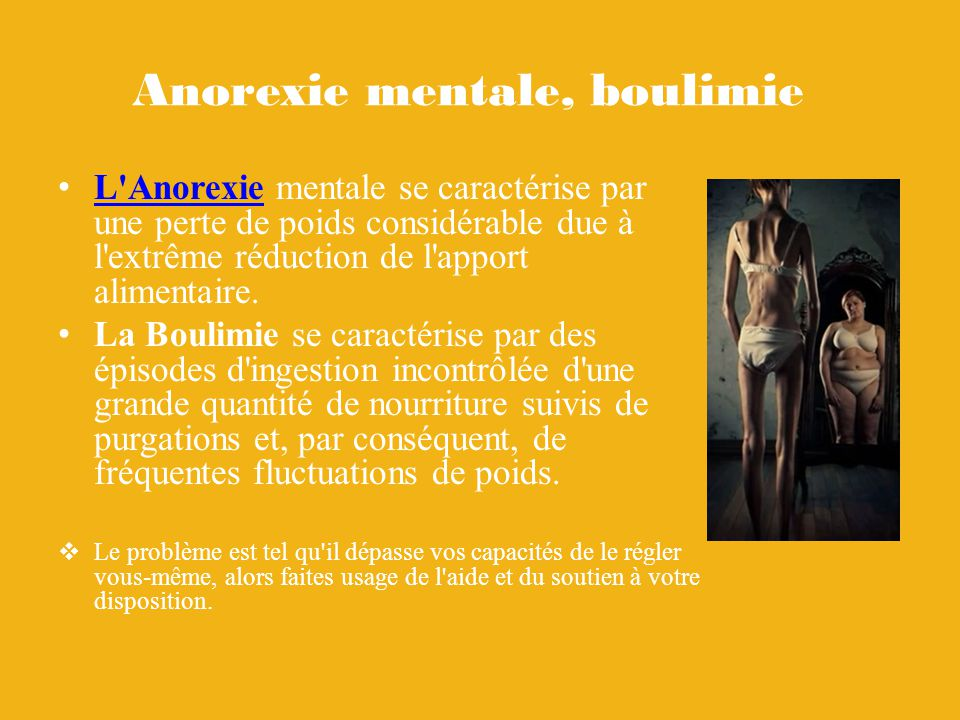 Anorexie mentale, boulimie