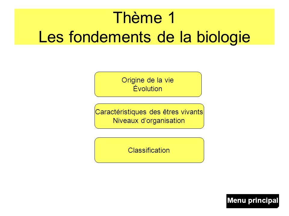 Thème 1 Les fondements de la biologie