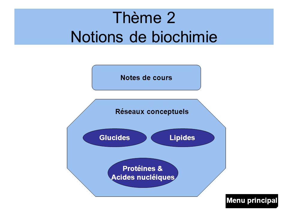 Thème 2 Notions de biochimie