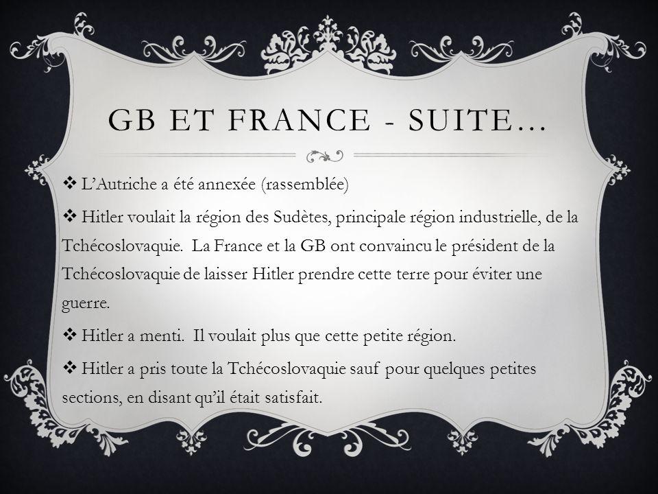 Gb et France - Suite… L'Autriche a été annexée (rassemblée)