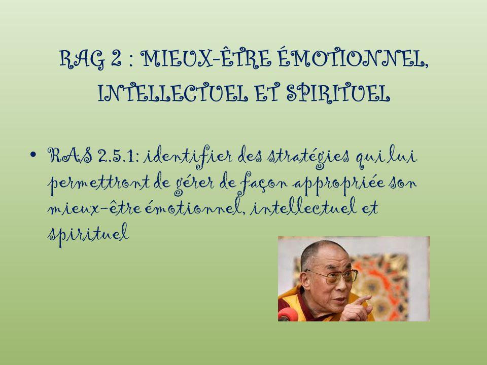 RAG 2 : MIEUX-ÊTRE ÉMOTIONNEL, INTELLECTUEL ET SPIRITUEL
