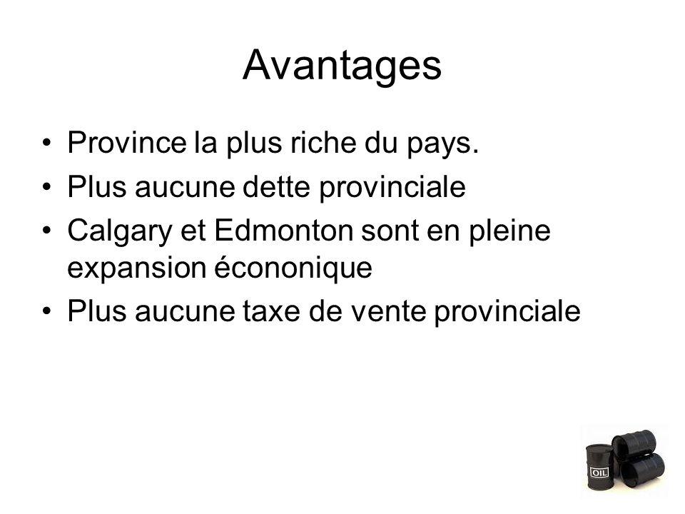 Avantages Province la plus riche du pays.