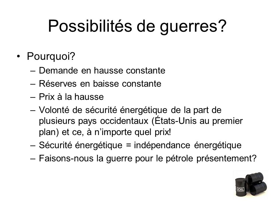 Possibilités de guerres