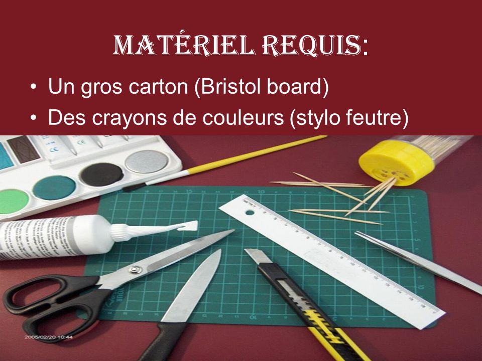 Matériel Requis: Un gros carton (Bristol board)