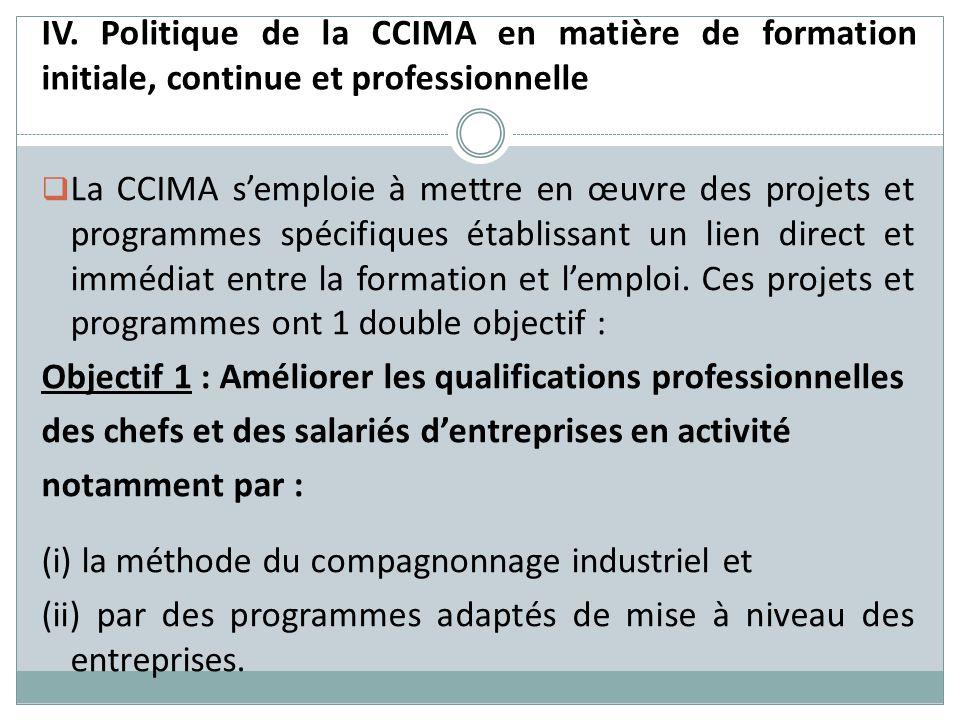 IV. Politique de la CCIMA en matière de formation initiale, continue et professionnelle