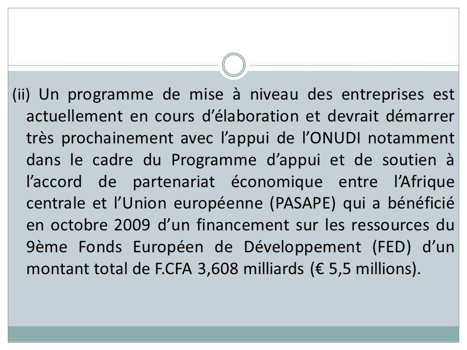 (ii) Un programme de mise à niveau des entreprises est actuellement en cours d'élaboration et devrait démarrer très prochainement avec l'appui de l'ONUDI notamment dans le cadre du Programme d'appui et de soutien à l'accord de partenariat économique entre l'Afrique centrale et l'Union européenne (PASAPE) qui a bénéficié en octobre 2009 d'un financement sur les ressources du 9ème Fonds Européen de Développement (FED) d'un montant total de F.CFA 3,608 milliards (€ 5,5 millions).