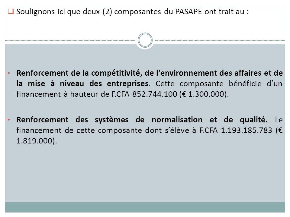 Soulignons ici que deux (2) composantes du PASAPE ont trait au :