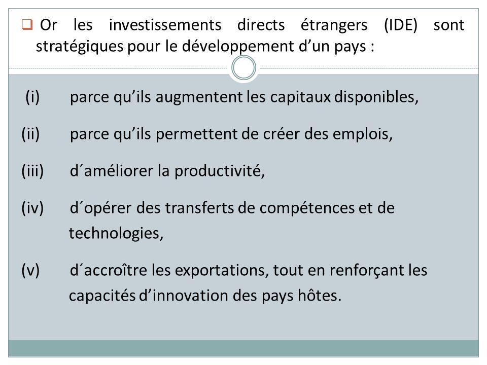 Or les investissements directs étrangers (IDE) sont stratégiques pour le développement d'un pays :