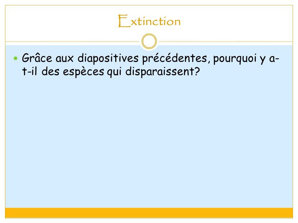 Extinction Grâce aux diapositives précédentes, pourquoi y a-t-il des espèces qui disparaissent