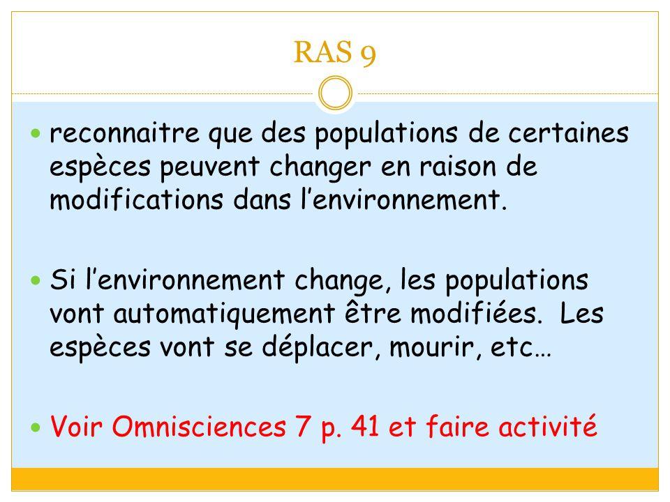 RAS 9 reconnaitre que des populations de certaines espèces peuvent changer en raison de modifications dans l'environnement.