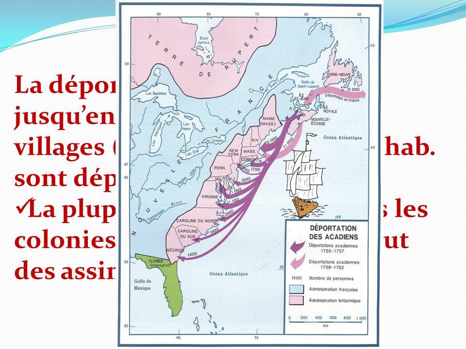 La déportation se continue jusqu'en 1763 dans les autres villages (environ 12 000/13 000 hab. sont déportés)