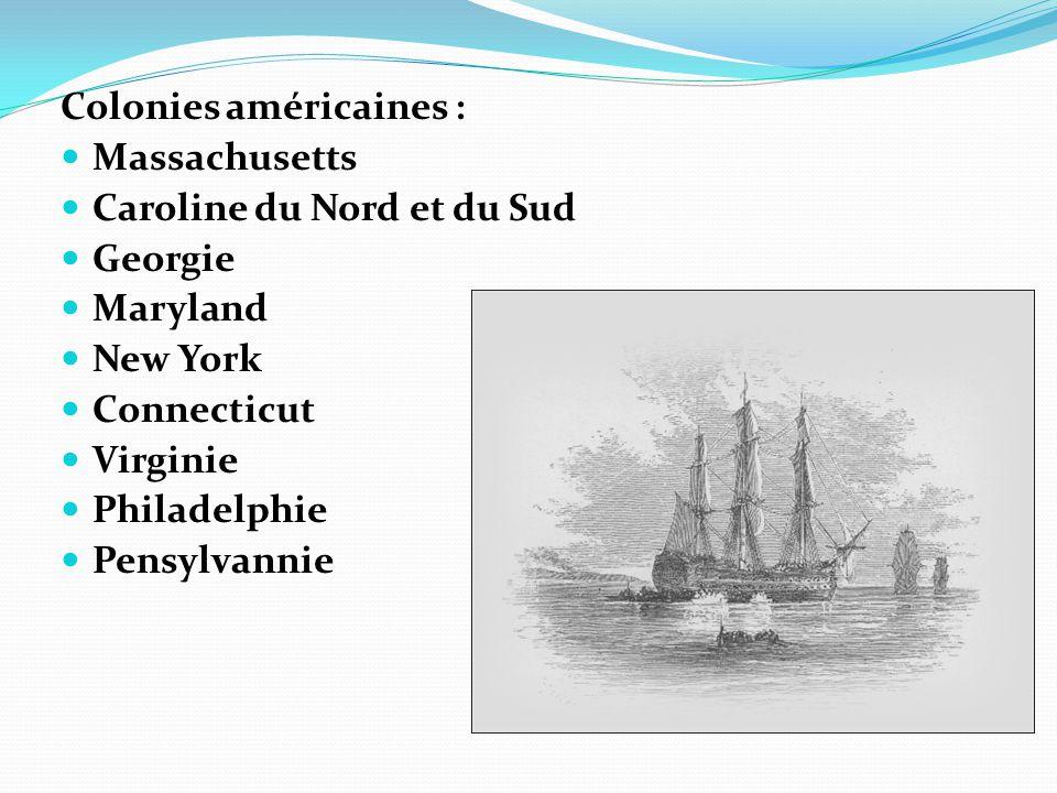 Colonies américaines :