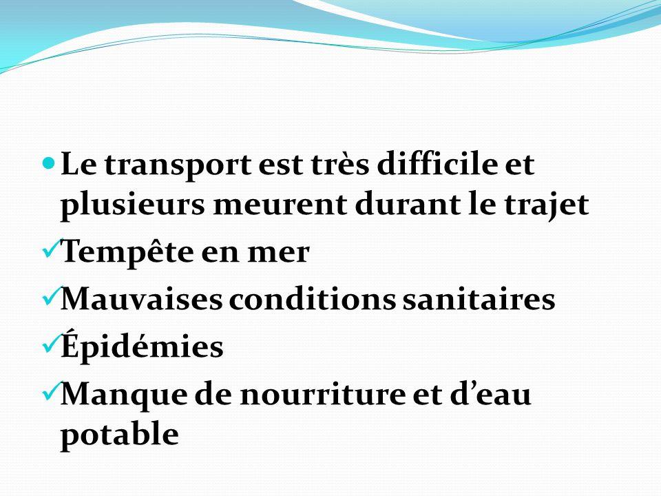 Le transport est très difficile et plusieurs meurent durant le trajet