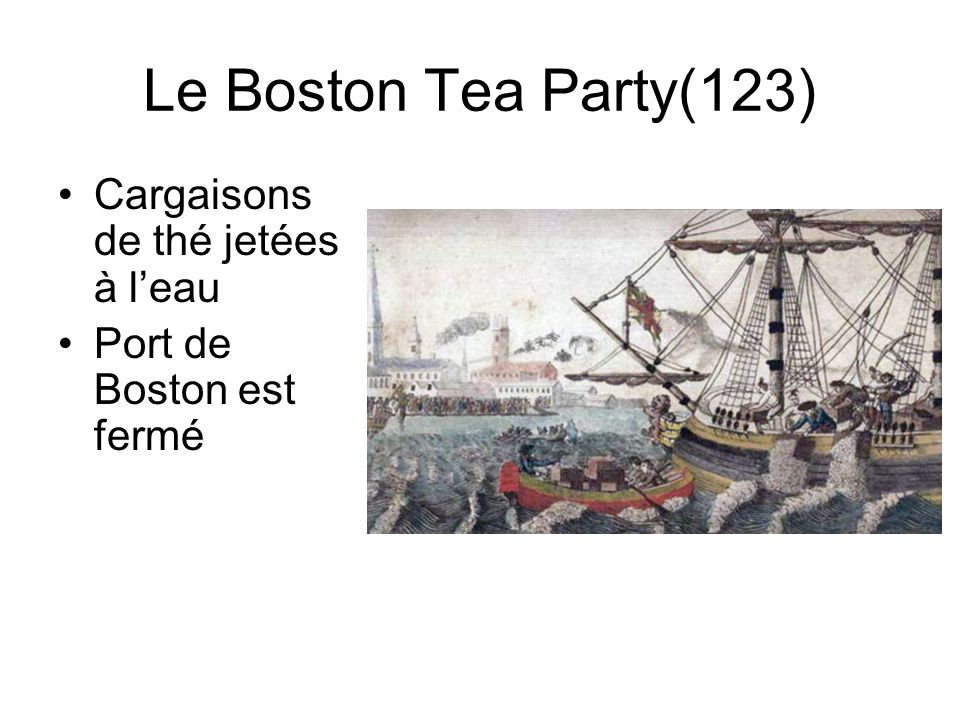 Le Boston Tea Party(123) Cargaisons de thé jetées à l'eau