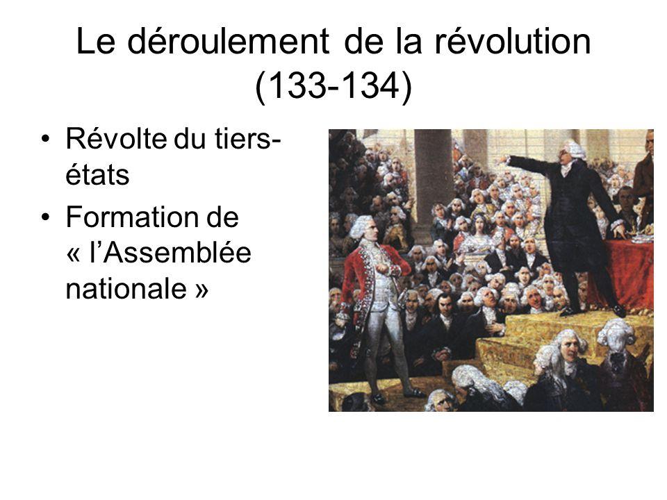 Le déroulement de la révolution (133-134)